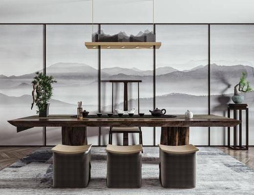 新中式茶桌椅, 茶桌椅, 茶桌椅组合, 桌椅组合