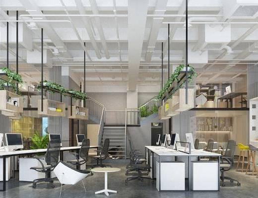 办公室, 办公桌, 办公椅, 单人椅, 电脑桌, ?#21830;? 吧椅, 盆栽, 绿植植物, 楼梯, 书柜, 书籍, 摆件, 装饰品, 陈设品, 现代