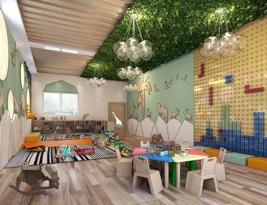 幼儿园, 儿童活动室, 教室, 植物墙, 墙面, 吊灯, 桌椅组合, 单人椅, 装饰柜, 桌子, 摆件, 装饰品, 陈设品, 现代
