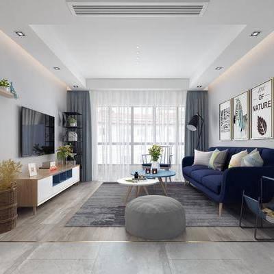 客厅, 多人沙发, 边柜, 茶几, 脚踏, 落地灯, 摆件, 装饰画, 北欧