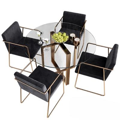 现代餐桌椅模型组合, 现代, 餐桌椅, 椅子, 水果