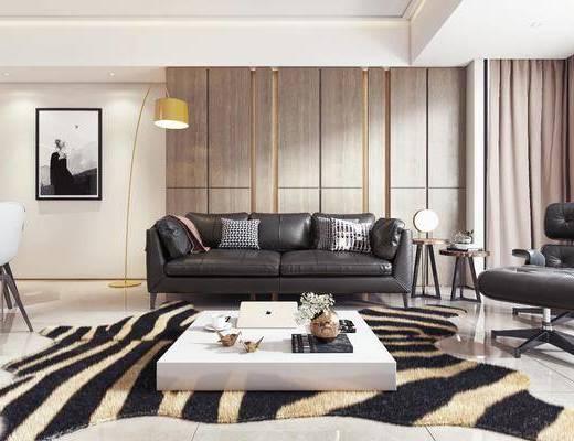 客厅, 餐厅, 沙发, 茶几, 边几, 摆件, 单椅, 休闲椅, 挂画, 吊灯, 现代客餐厅, 餐桌, 椅子, 餐具, 现代