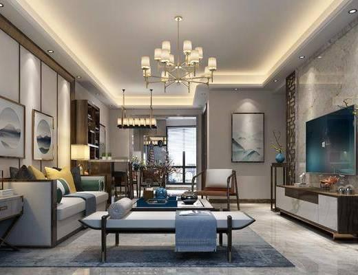 新中式客厅, 中式客厅, 中式沙发, 沙发组合, 沙发茶几组合