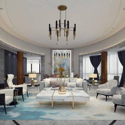 客厅, 单人沙发, 多人沙发, 茶几, 摆件, 装饰品, 陈设品, 边几, 台灯, 吊灯, 现代