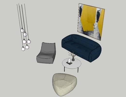 吊灯, 挂画, 沙发组合, 茶几, 单椅