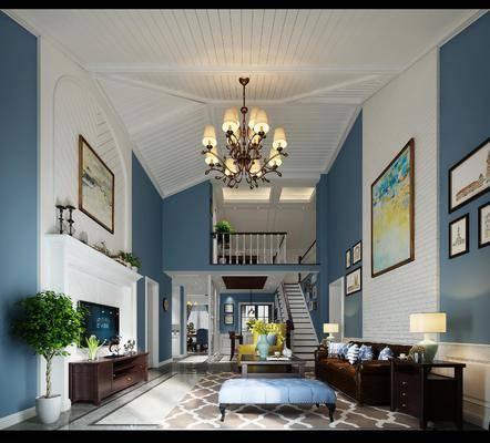 客厅, 美式客厅, 复式客厅, 沙发组合, 美式沙发, 吊灯