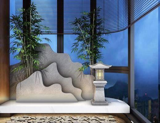 中式阳台小景, 中式, 阳台, 竹子, 中式灯