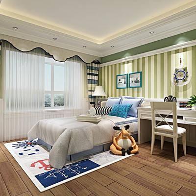 儿童房, 床, 书桌, 椅子, 单椅, 地中海, 美式, 田园