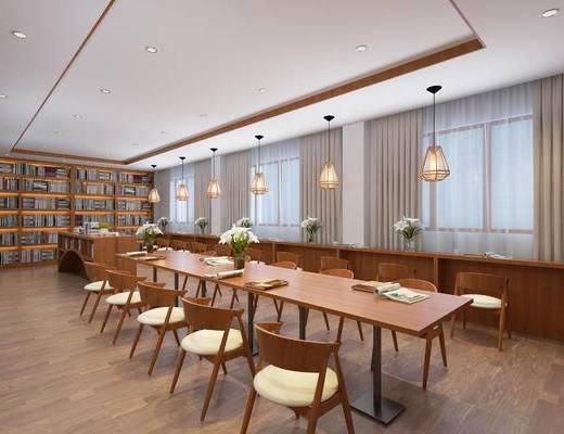 图书馆, 桌椅组合, 吊灯, 书柜, 书籍