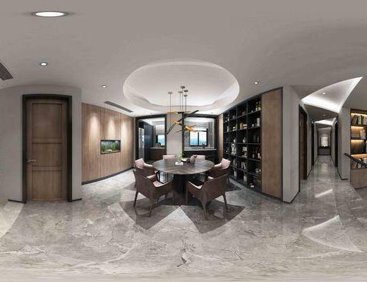 客厅, 现代, 后现代, 餐桌, 客餐厅, 餐厅, 餐桌椅, 椅子, 单椅, 吊灯, 沙发