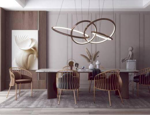 现代轻奢餐厅, 餐桌椅, 吊灯, 摆件, 挂画, 装饰品
