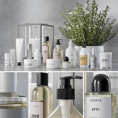 化妆品, 洗漱用品, 日用品, 护肤品, 盆栽, 烛台, 现代