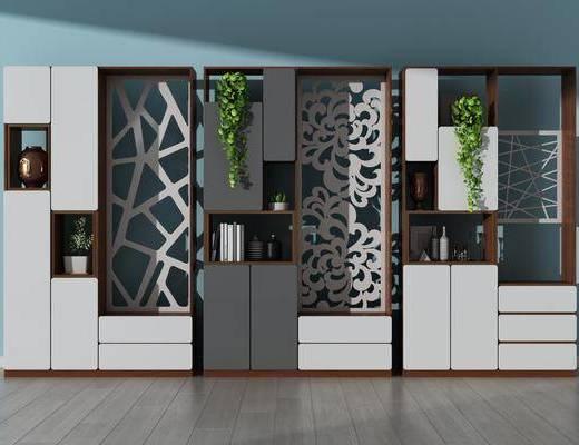 玄关鞋柜, 装饰边柜, 隔断柜, 摆件组合, 盆栽组合, 绿植植物, 现代