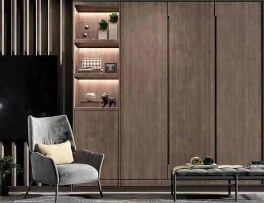 现代衣柜, 衣柜, 单椅