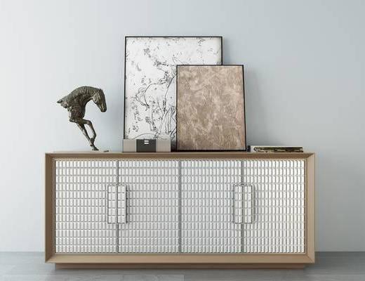 现代, 电视柜, 摆件, 装饰画, 雕塑