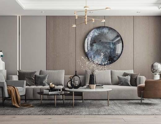 多人沙发, 休闲椅, 墙画, 雕塑, 吊灯