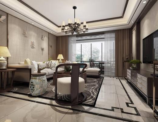 中式客厅, 客厅, 中式沙发组合, 电视柜, 中式吊灯