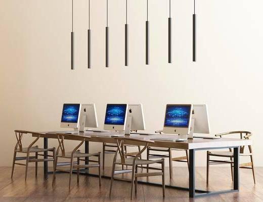 办公桌, 办公椅, 单椅, 电脑, 吊灯, 现代
