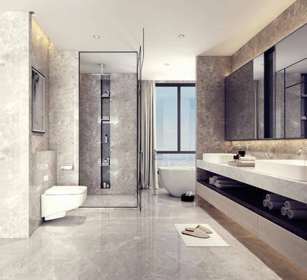 卫生间, 洗手台, 浴缸, 镜子