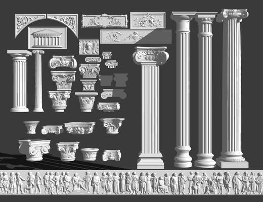 石膏线, 线条, 柱子, 罗马柱