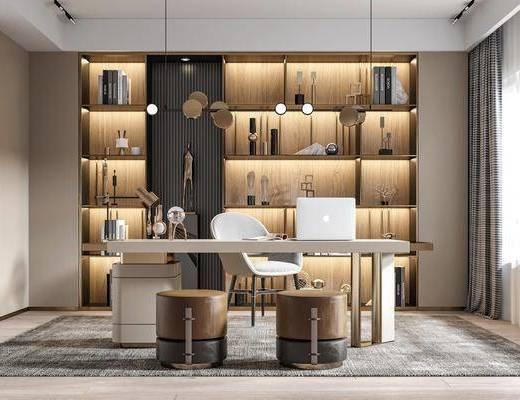 书桌, 桌椅组合, 电脑桌, 书柜, 吊灯