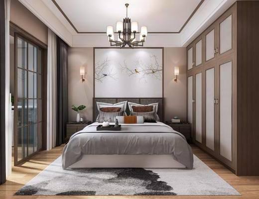 新中式卧室, 卧室, 新中式