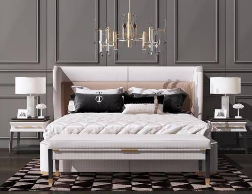 现代双人床, 双人床, 床具组合