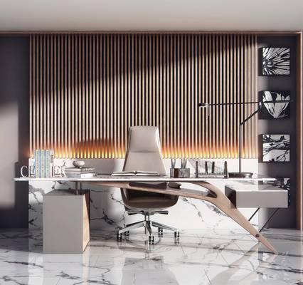 办公桌, 吊灯, 摆件组合, 挂画