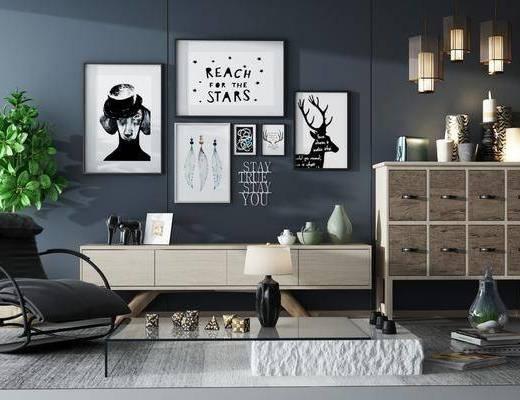 电视柜, 植物, 盆栽, 挂画, 装饰画, 装饰柜, 置物架, 边柜, 单椅, 休闲椅, 地毯, 瓷器, 摆件, 装饰品, 陈设品, 现代