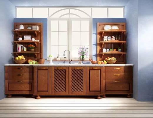 中式, 橱柜, 摆件, 厨具, 花瓶