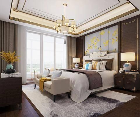 新中式卧室, 新中式, 卧室, 床, 床具, 床头柜, 台灯, 花瓶, 边柜, 装饰柜, 吊灯, 新中式吊灯, 床尾踏, 新中式台灯