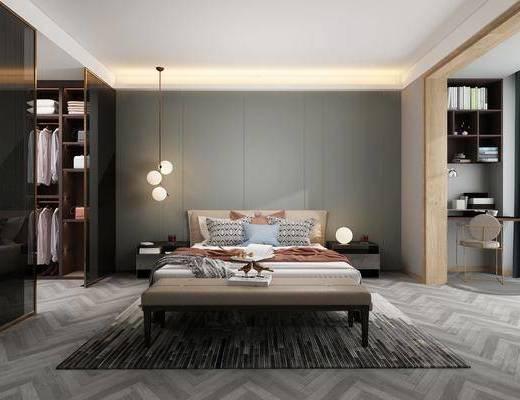 雙人床, 床具組合, 吊燈, 衣柜, 衣架