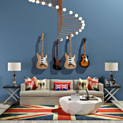 北欧沙发, 茶几, 台灯, 吉他, 乐器, 吊灯