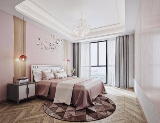 新中式卧室, 新中式床具, 现代吊灯, 新中式床头柜, 现代墙饰