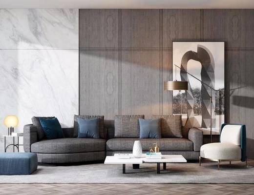 沙发组合, 多人沙发, 茶几, 单人沙发, 边几, 台灯, 装饰画, 挂画, 落地灯, 现代