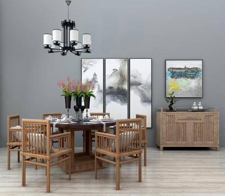 餐桌, 椅子, 圆桌, 吊灯, 挂画, 装饰画, 餐边柜, 花瓶, 花卉, 植物, 盆栽, 瓷器, 摆件, 装饰品, 餐具, 新中式