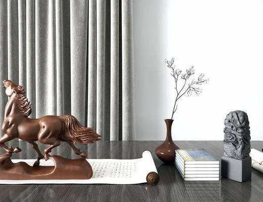 中式, 雕塑, 摆件