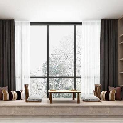 中式飘窗, 中式, 飘窗, 窗帘, 枕头