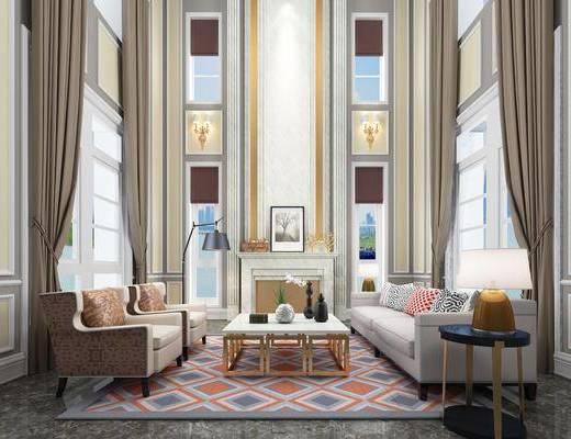 客厅, 现代客厅, 简美客厅, 沙发组合, 茶几, 落地灯, 壁炉, 摆件, 台灯, 现代, 简美