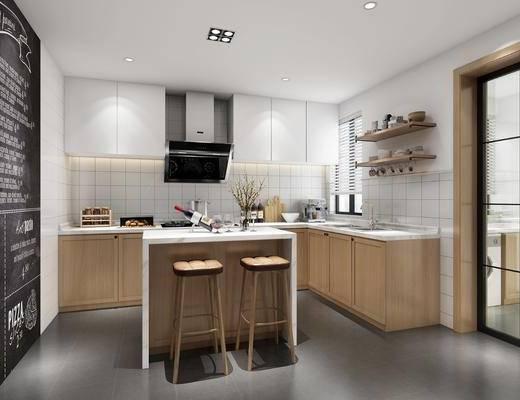 厨房, 北欧厨房, 现代, 橱柜, 吧椅
