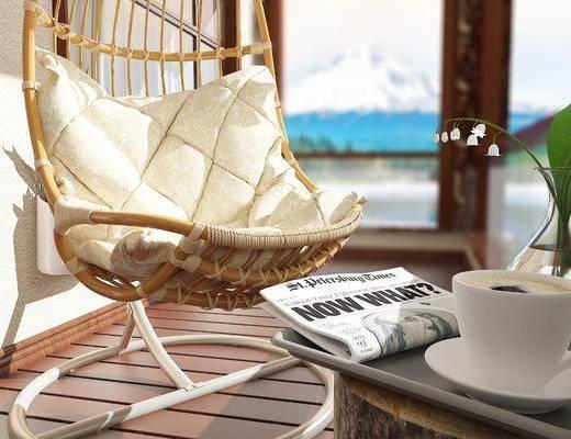 单椅, 绿植, 盆栽, 现代