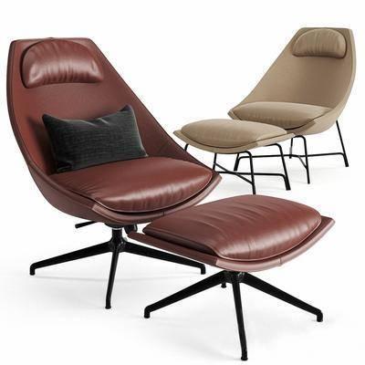 現代皮革休閑椅, 沙發椅, 腳踏
