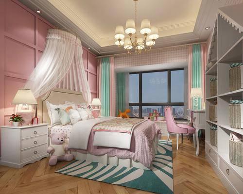 儿童房, 卧室, 双人床, 床头柜, 台灯, 吊灯, 化妆台, 单人椅, 装饰柜, 玩具, 简欧