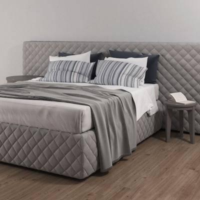 双人床, 枕头, 布艺, 边几, 书籍, 现代