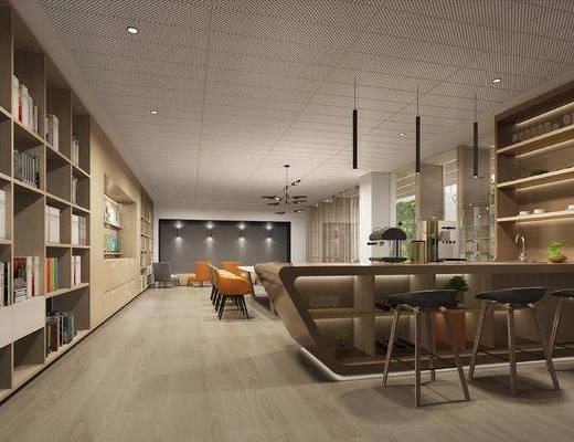 新中式, 水吧台, 休闲椅, 灯具, 书柜