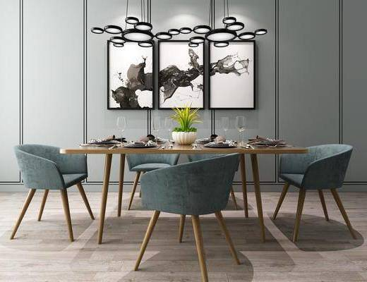 桌椅组合, 现代桌椅组合, 吊灯, 餐具, 摆件, 现代