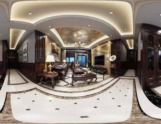 客厅, 餐厅, 全景图, 美式客餐厅, 沙发组合, 边柜, 台灯, 吊灯, 留声机, 酒柜, 桌椅组合, 摆件组合, 美式