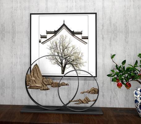 摆件组合, 新中式摆件组合, 挂画, 植物, 盆栽, 新中式