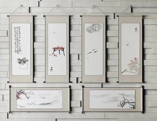 中式, 水墨画, 挂画, 卷轴, 装饰画