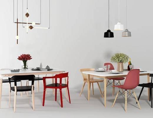 餐桌椅组合, 餐桌, 餐椅, 单人椅, 休闲椅, 吊灯, 装饰品, 陈设品, 北欧